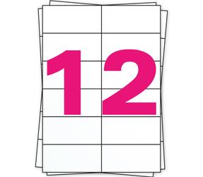 Afbeelding van A4 stickervellen, 12 per vel, wit, permanent, 105mm x 49mm
