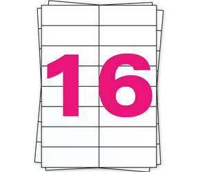 Afbeelding van A4 stickervellen, 16 per vel, wit, permanent, 105mm x 37mm