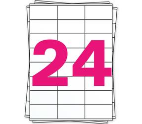 Afbeelding van A4 stickervellen, 24 per vel, wit, permanent, 70mm x 36mm