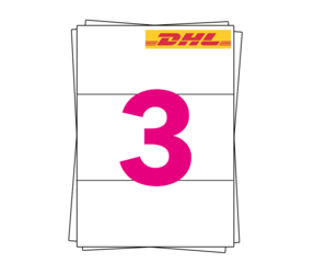 DHL Etiket op A4 stickervellen, 3 per vel, wit, permanent, 98,5mm x 210mm