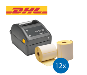 DHL starterspakket: Zebra ZD420D printer + 12 rollen Zebra compatible labels 102mm x 210mm