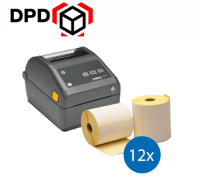 DPD starterspakket: Zebra ZD420D printer + 12 rollen Zebra compatible labels 102mm x 150mm