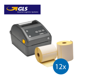 GLS starterspakket: Zebra ZD420D ethernet printer + 12 rollen Zebra compatible labels 102mm x 150mm