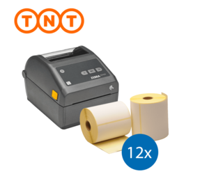 TNT starterspakket: Zebra ZD420D printer + 12 rollen Zebra compatible labels 102mm x 150mm