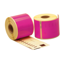 Dymo 99014 compatible labels, 101mm x 54mm, 220 etiketten, roze, permanent