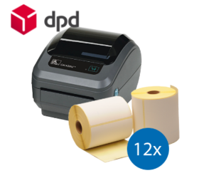 DPD starterspakket: Zebra GK420D printer + 12 rollen Zebra compatible labels 102mm x 150mm