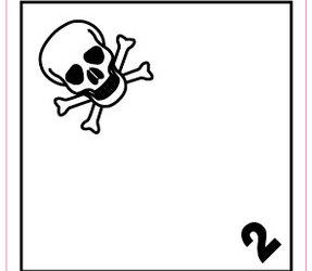 Afbeelding van ADR 2.3 Toxic label, 100mm x 100mm, 1.000 etiketten, core 76mm