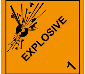 IATA 1.0 Explosive label, 100mm x 100mm, 1.000 etiketten, core 76mm