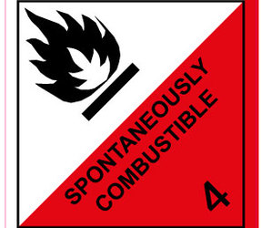IATA 4.2 Spontaneously combustible label, 100mm x 100mm, 1.000
