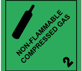 IMO 2.2 Non Flammable Compressed Gas label, 100mm x 100mm, 1.000 etiketten, core 76mm