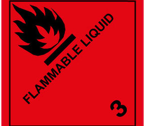 IMO 3.0 Flammable liquid label, 100mm x 100mm, 1.000 etiketten, core 76mm