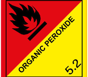 IMO 5.2 Organic Peroxide label, 100mm x 100mm, 1.000 etiketten, core 76mm