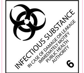 IMO 6.2 Infectious substance label, 100mm x 100mm, 1.000 etiketten, core 76mm