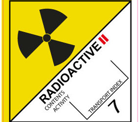 IMO 7.2 Radioactive II label, 100mm x 100mm, 1.000 etiketten, core 76mm