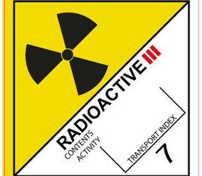 IMO 7.3 Radioactive III label, 100mm x 100mm, 1.000 etiketten, core 76mm
