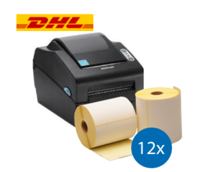 DHL starterspakket: Bixolon SLP-DX420EG ethernet printer + 12 rollen compatible labels 102mm x 210mm