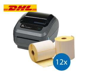 DHL starterspakket:  Zebra GK420D ethernet printer + 12 rollen Zebra compatible labels 102mm x 210mm
