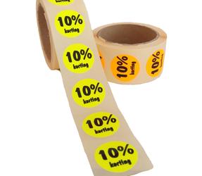 Afbeelding van 10% Kortingsstickers, Fluor Oranje, 500 Stickers