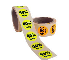 40% Kortinggstickers, Fluor Oranje, 500 Stickers
