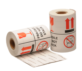 Fragile / Do not stack label, 101,6mm x 101,6mm, 1000 etiketten, permanent
